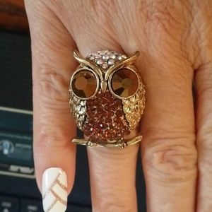 Big Beautiful Gold Tone Crystal Studded Owl Ring